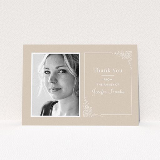 """A funeral thank you card design called """"Peach border"""". It is an A6 card in a landscape orientation. It is a photographic funeral thank you card with room for 1 photo. """"Peach border"""" is available as a flat card, with mainly dark cream colouring."""