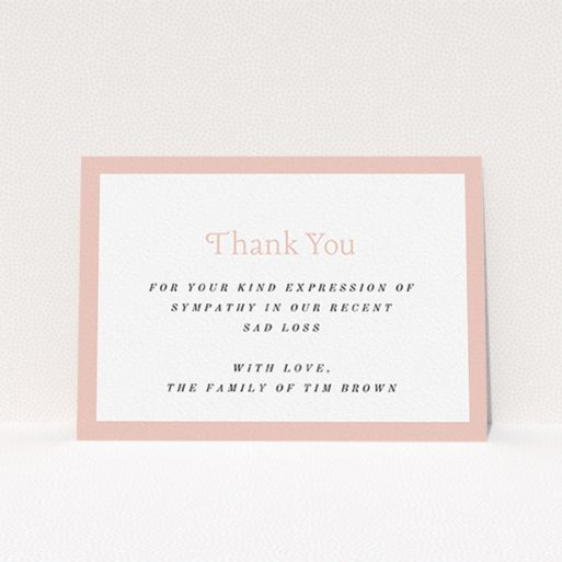 """A funeral thank you card design titled """"Pink impact"""". It is an A6 card in a landscape orientation. """"Pink impact"""" is available as a flat card, with tones of pink and white."""
