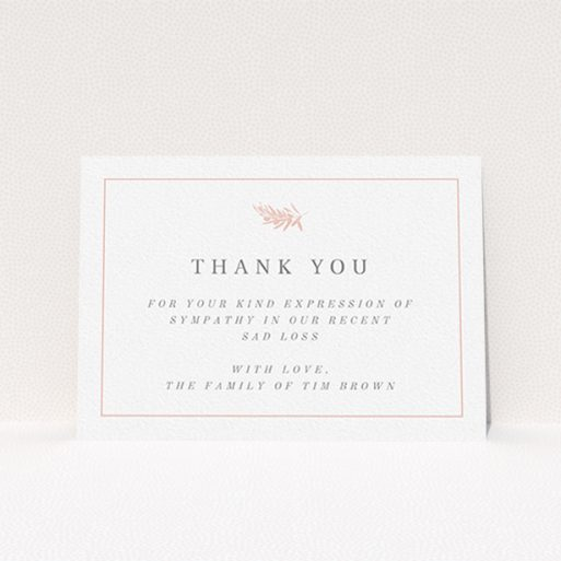 """A funeral thank you card design named """"Pink Olive Branch"""". It is an A6 card in a landscape orientation. """"Pink Olive Branch"""" is available as a flat card, with tones of white and pink."""