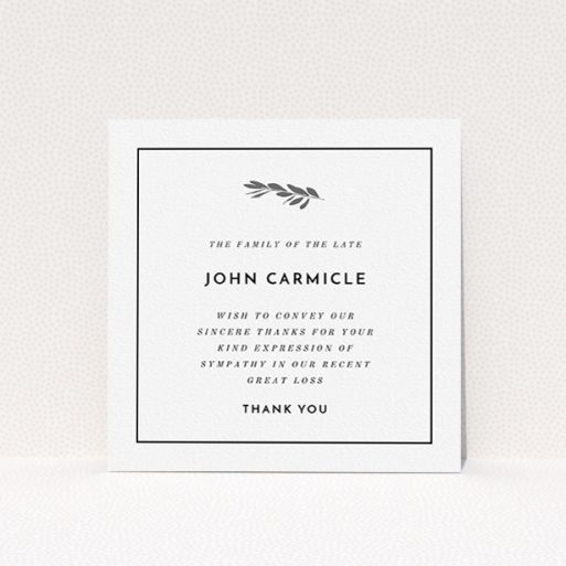 """A funeral thank you card template titled """"Stamp of the tree"""". It is a square (148mm x 148mm) card in a square orientation. """"Stamp of the tree"""" is available as a flat card, with tones of white and silver."""