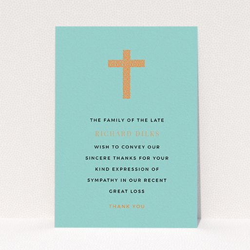 """A funeral thank you card design titled """"The celebration"""". It is an A6 card in a portrait orientation. """"The celebration"""" is available as a flat card, with tones of teal and orange."""