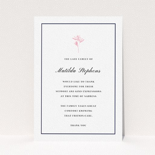"""A funeral thank you card design named """"The sweetest of daisies"""". It is an A6 card in a portrait orientation. """"The sweetest of daisies"""" is available as a flat card, with tones of white and pink."""