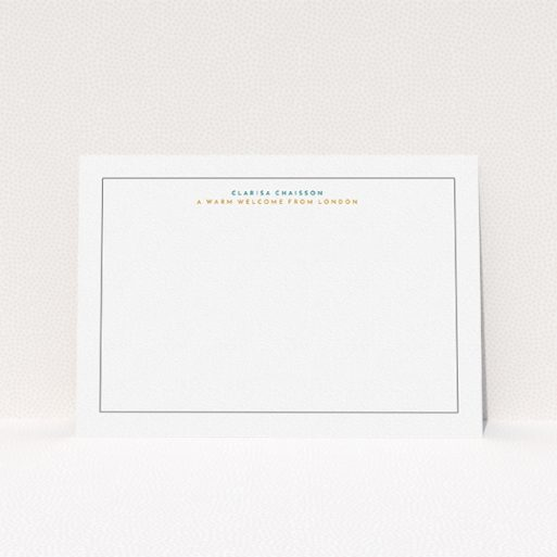 """A ladies custom writing stationery template titled """"A warm welcome"""". It is an A5 card in a landscape orientation. """"A warm welcome"""" is available as a flat card, with tones of white and green."""