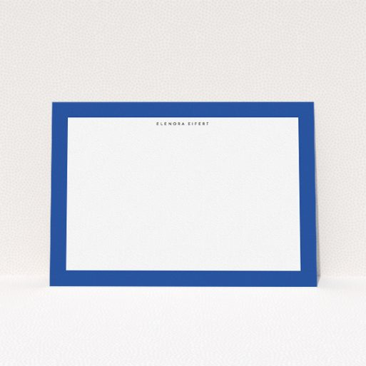 """A ladies custom writing stationery design titled """"Big blue"""". It is an A5 card in a landscape orientation. """"Big blue"""" is available as a flat card, with tones of blue and white."""
