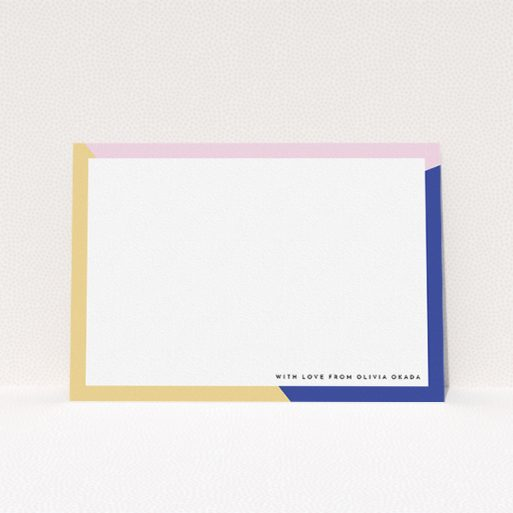 """A ladies custom writing stationery design named """"Colour Thirds"""". It is an A5 card in a landscape orientation. """"Colour Thirds"""" is available as a flat card, with tones of white, blue and pink."""