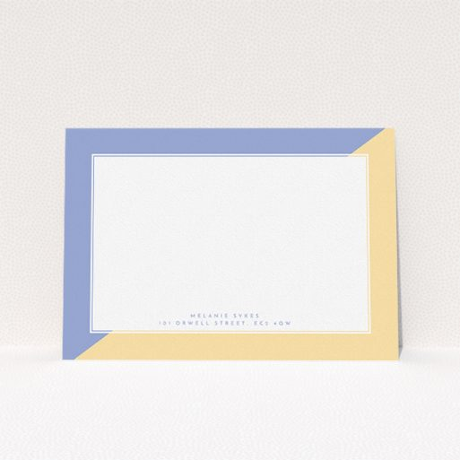 """A ladies custom writing stationery design named """"Half and Half"""". It is an A5 card in a landscape orientation. """"Half and Half"""" is available as a flat card, with tones of yellow and purple."""