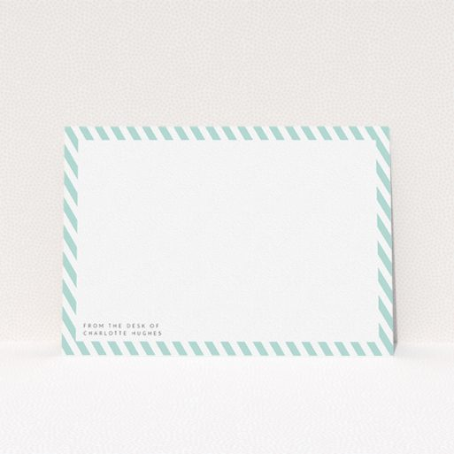 """A ladies custom writing stationery called """"Mint Diagonals"""". It is an A5 card in a landscape orientation. """"Mint Diagonals"""" is available as a flat card, with tones of green and white."""