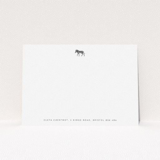 """A ladies custom writing stationery named """"Zebra crossing"""". It is an A5 card in a landscape orientation. """"Zebra crossing"""" is available as a flat card, with mainly white colouring."""