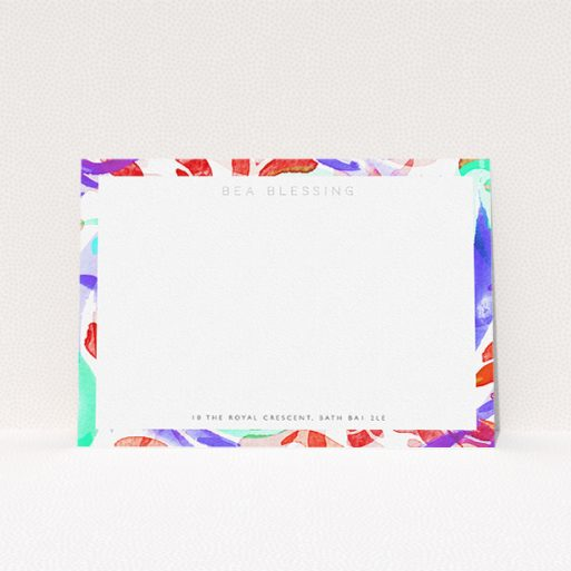 """A ladies personalised note card template titled """"Abstract Neon"""". It is an A5 card in a landscape orientation. """"Abstract Neon"""" is available as a flat card, with mainly red colouring."""