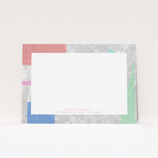 """A ladies personalised note card design named """"Abstract Stone"""". It is an A5 card in a landscape orientation. """"Abstract Stone"""" is available as a flat card, with tones of light grey and red."""