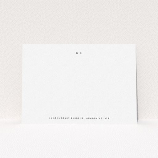"""A ladies personalised note card called """"Bullet points"""". It is an A5 card in a landscape orientation. """"Bullet points"""" is available as a flat card, with mainly white colouring."""