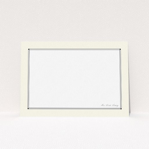 """A ladies personalised note card design titled """"Deco cream"""". It is an A5 card in a landscape orientation. """"Deco cream"""" is available as a flat card, with mainly cream colouring."""