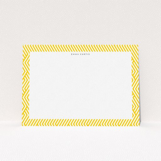 """A ladies personalised note card design titled """"Direction to yellow"""". It is an A5 card in a landscape orientation. """"Direction to yellow"""" is available as a flat card, with tones of yellow and white."""