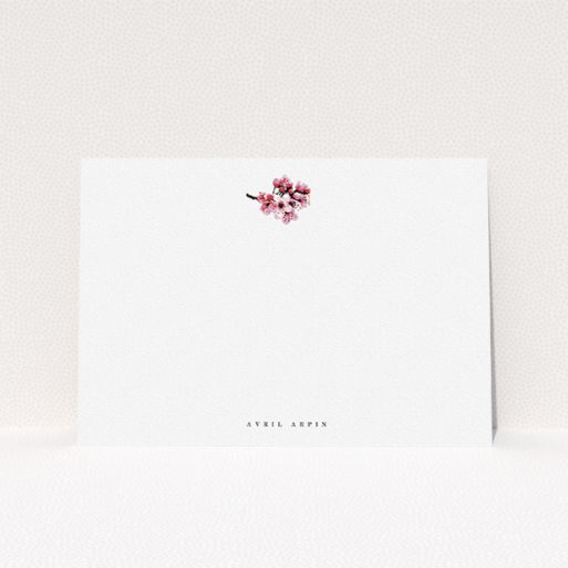"""A ladies personalised note card design named """"End of the blossom """". It is an A5 card in a landscape orientation. """"End of the blossom """" is available as a flat card, with mainly white colouring."""