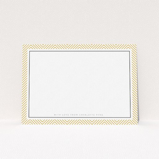 """A ladies personalised note card named """"Golden Lines"""". It is an A5 card in a landscape orientation. """"Golden Lines"""" is available as a flat card, with tones of gold and white."""