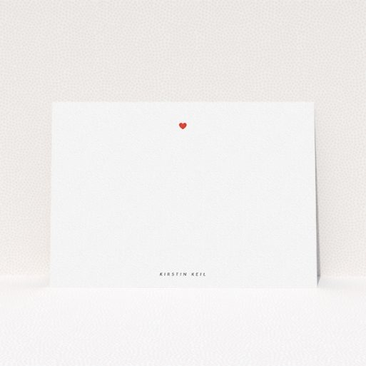 """A ladies personalised note card called """"Just one heart"""". It is an A5 card in a landscape orientation. """"Just one heart"""" is available as a flat card, with tones of white and red."""