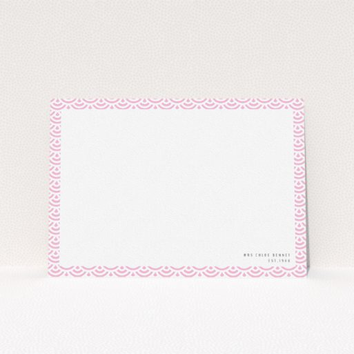 """A ladies personalised note card design titled """"Pink Fan Pattern"""". It is an A5 card in a landscape orientation. """"Pink Fan Pattern"""" is available as a flat card, with tones of pink and white."""