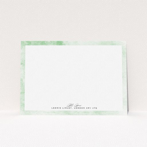 """A ladies personalised note card called """"Rustic Green"""". It is an A5 card in a landscape orientation. """"Rustic Green"""" is available as a flat card, with tones of green and white."""