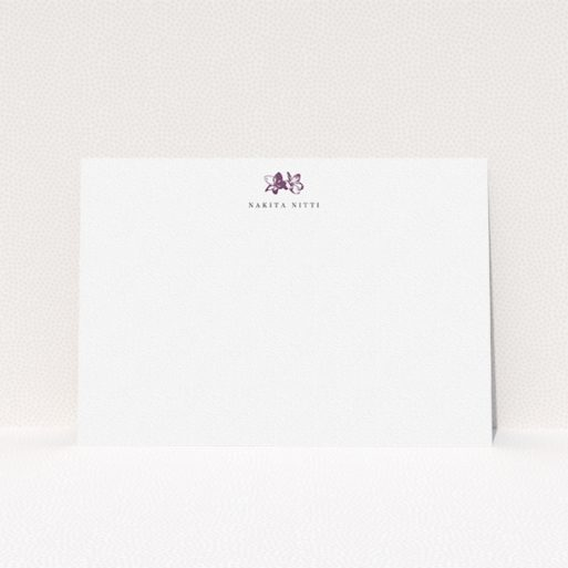 """A ladies personalised note card design named """"Stand the flowers"""". It is an A5 card in a landscape orientation. """"Stand the flowers"""" is available as a flat card, with tones of white and purple."""