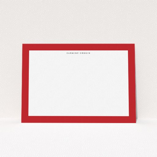 """A men custom writing stationery called """"Big red"""". It is an A5 card in a landscape orientation. """"Big red"""" is available as a flat card, with tones of red and white."""