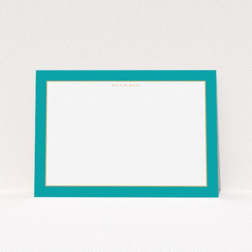 """A men custom writing stationery called """"Blue and gold border"""". It is an A5 card in a landscape orientation. """"Blue and gold border"""" is available as a flat card, with tones of green and white."""
