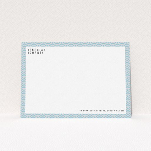 """A men custom writing stationery design named """"Blue Fan Patterns"""". It is an A5 card in a landscape orientation. """"Blue Fan Patterns"""" is available as a flat card, with tones of blue and grey."""
