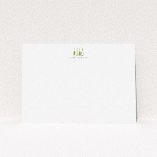 """A men custom writing stationery template titled """"Drinking for four"""". It is an A5 card in a landscape orientation. """"Drinking for four"""" is available as a flat card, with tones of white and Dark gold."""