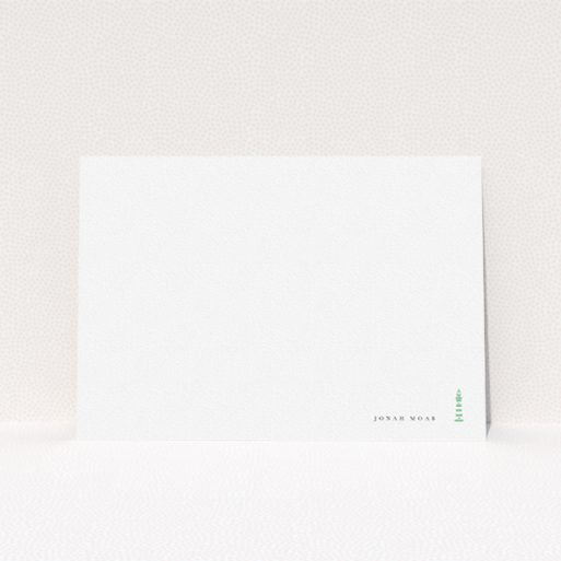 """A men custom writing stationery named """"Find your way home"""". It is an A5 card in a landscape orientation. """"Find your way home"""" is available as a flat card, with tones of white and green."""