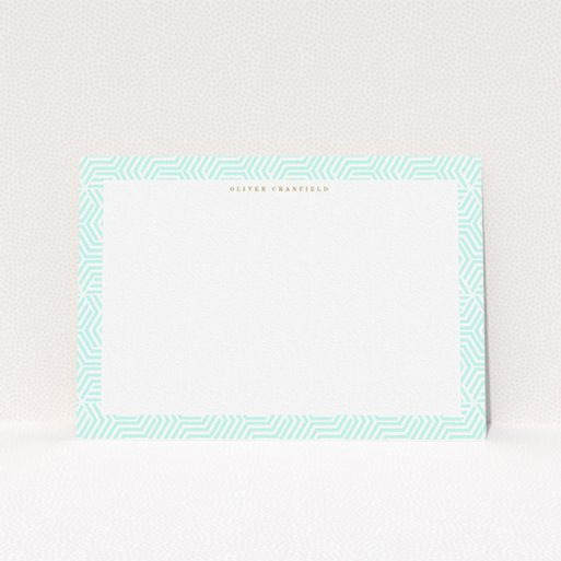 """A men personalised note card design named """"Around the corner"""". It is an A5 card in a landscape orientation. """"Around the corner"""" is available as a flat card, with tones of green and white."""