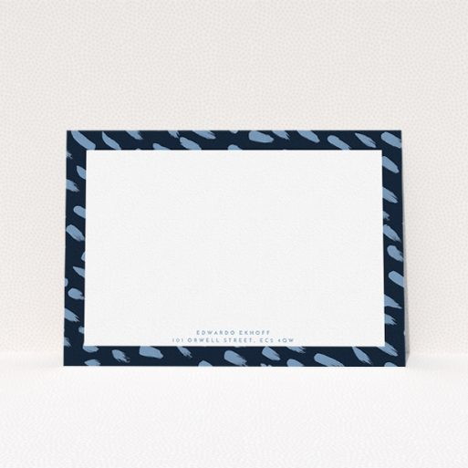 """A men personalised note card template titled """"Blue smudges"""". It is an A5 card in a landscape orientation. """"Blue smudges"""" is available as a flat card, with tones of blue and white."""