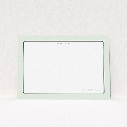 """A men personalised note card design called """"Deco mint"""". It is an A5 card in a landscape orientation. """"Deco mint"""" is available as a flat card, with tones of green and white."""