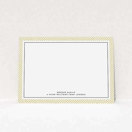 """A men personalised note card design called """"Golden Lines"""". It is an A5 card in a landscape orientation. """"Golden Lines"""" is available as a flat card, with tones of gold and white."""