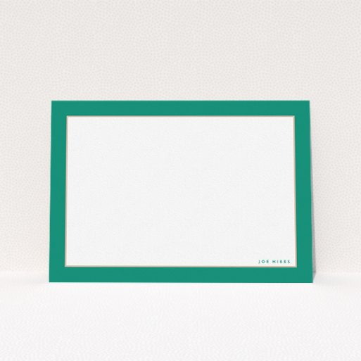 """A men personalised note card template titled """"Green and Salmon border"""". It is an A5 card in a landscape orientation. """"Green and Salmon border"""" is available as a flat card, with tones of green and white."""