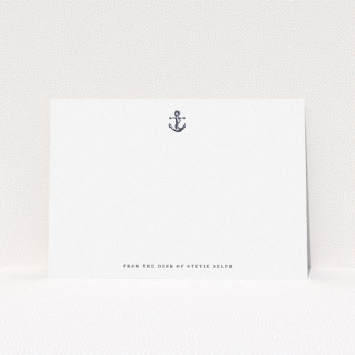 """A men personalised note card named """"Land ahoy"""". It is an A5 card in a landscape orientation. """"Land ahoy"""" is available as a flat card, with tones of white and Navy blue."""
