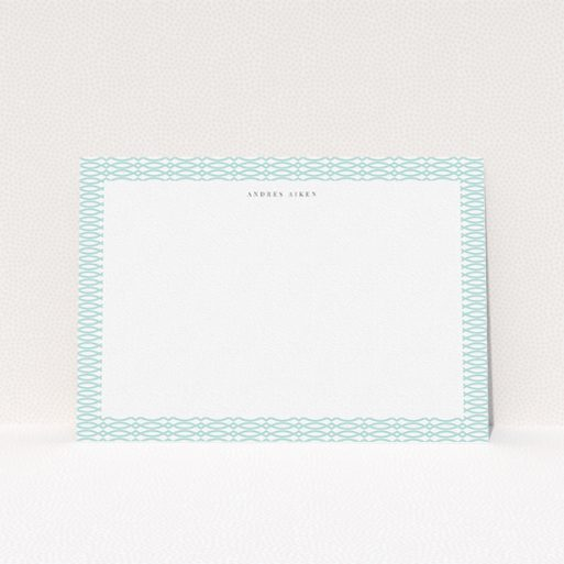 """A men personalised note card template titled """"Mint connected"""". It is an A5 card in a landscape orientation. """"Mint connected"""" is available as a flat card, with tones of green and white."""
