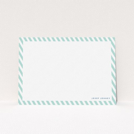 """A men personalised note card design titled """"Mint Diagonals"""". It is an A5 card in a landscape orientation. """"Mint Diagonals"""" is available as a flat card, with tones of green and white."""