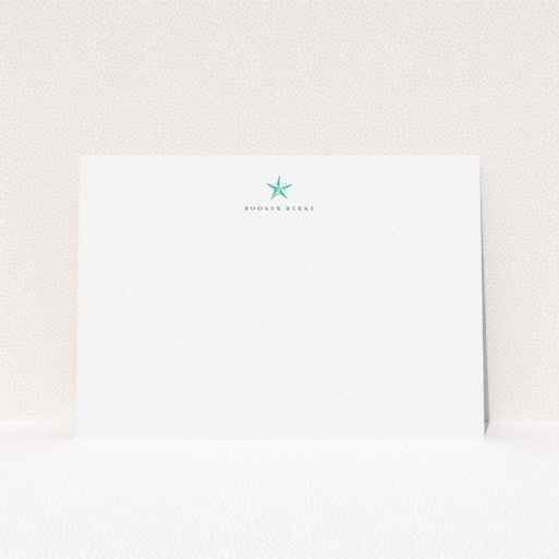 """A men personalised note card template titled """"North Star"""". It is an A5 card in a landscape orientation. """"North Star"""" is available as a flat card, with tones of white and blue."""