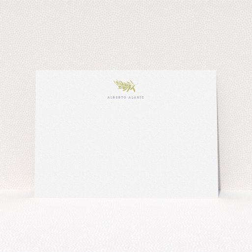 """A men personalised note card template titled """"Olive stamp"""". It is an A5 card in a landscape orientation. """"Olive stamp"""" is available as a flat card, with tones of white and gold."""