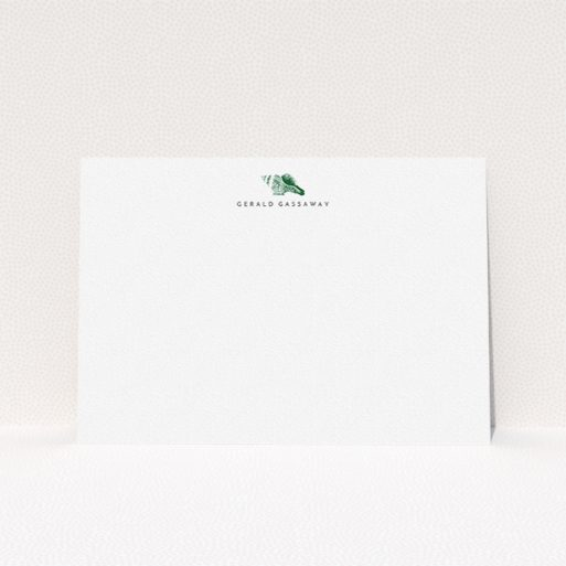 """A men personalised note card named """"On the shore"""". It is an A5 card in a landscape orientation. """"On the shore"""" is available as a flat card, with tones of white and green."""