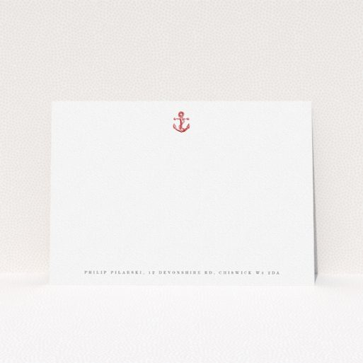 """A men personalised note card named """"Steamboat"""". It is an A5 card in a landscape orientation. """"Steamboat"""" is available as a flat card, with tones of white and red."""