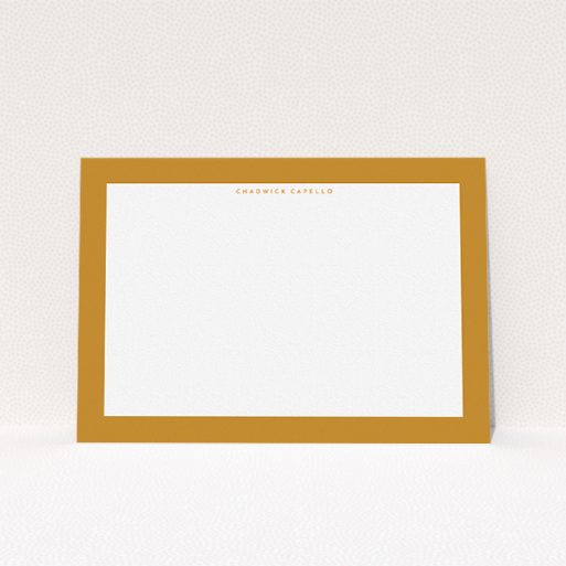 """A men personalised note card design named """"Striking orange """". It is an A5 card in a landscape orientation. """"Striking orange """" is available as a flat card, with tones of orange and white."""