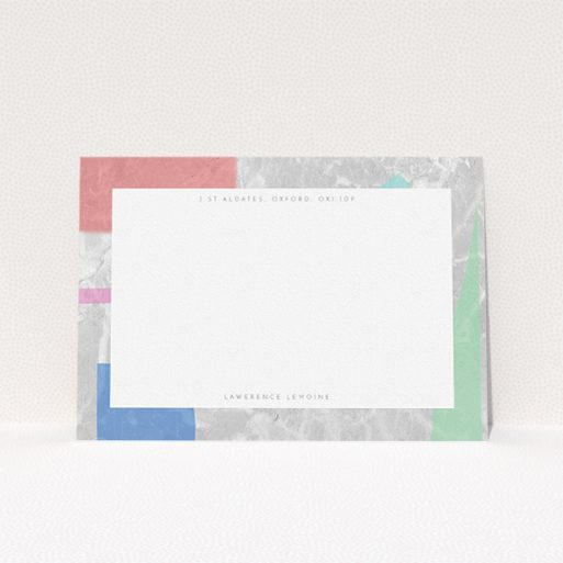 """A mens correspondence card design called """"Abstract Stone"""". It is an A5 card in a landscape orientation. """"Abstract Stone"""" is available as a flat card, with tones of red, grey and green."""
