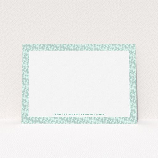 """A mens correspondence card called """"African classic"""". It is an A5 card in a landscape orientation. """"African classic"""" is available as a flat card, with tones of green and white."""