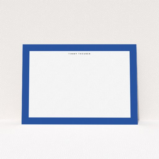 """A mens correspondence card template titled """"Big blue"""". It is an A5 card in a landscape orientation. """"Big blue"""" is available as a flat card, with tones of blue and white."""