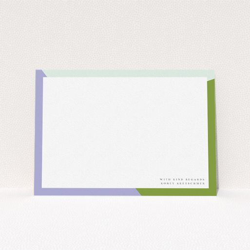 """A mens correspondence card template titled """"Colour Thirds"""". It is an A5 card in a landscape orientation. """"Colour Thirds"""" is available as a flat card, with tones of white, green and light blue."""
