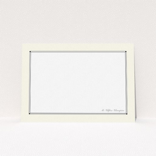 """A mens correspondence card design named """"Deco cream"""". It is an A5 card in a landscape orientation. """"Deco cream"""" is available as a flat card, with mainly cream colouring."""