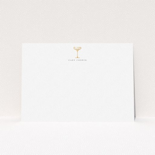 """A mens correspondence card design called """"Deco Party"""". It is an A5 card in a landscape orientation. """"Deco Party"""" is available as a flat card, with tones of white and Dark orange."""