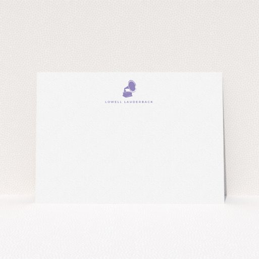 """A mens correspondence card called """"Purple sound"""". It is an A5 card in a landscape orientation. """"Purple sound"""" is available as a flat card, with tones of white and purple."""
