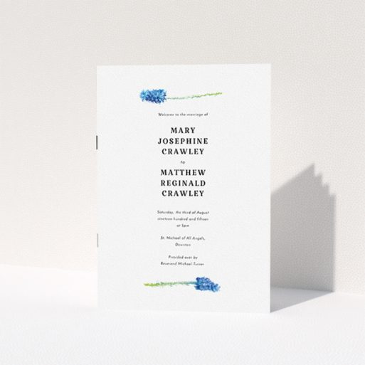 """A multipage wedding order of service template titled """"A new bloom"""". It is an A5 booklet in a portrait orientation. """"A new bloom"""" is available as a folded booklet booklet, with tones of white and green."""