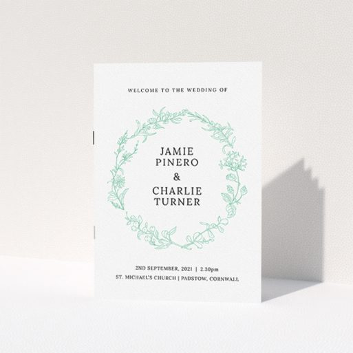 """A multipage wedding order of service design called """"Botanicals"""". It is an A5 booklet in a portrait orientation. """"Botanicals"""" is available as a folded booklet booklet, with tones of green and white."""